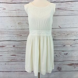 Lucky Brand off white embroidered dress